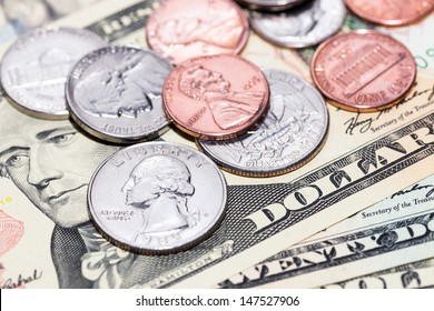US dollar banknotes and coins