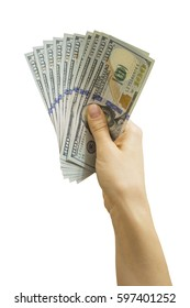 Us dollar banknotes in woman hand, isolate on white background