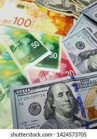 US Dollar Banknotes,Israel Banknotes:Use for website/banner background