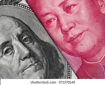 US dollar bill and China yuan banknote macro, Chinese and USA economy finance trade business, money closeup