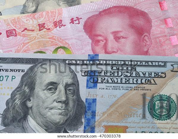 Us Dollar Bill China Yuan Banknote Backgrounds Textures Stock Image 470303378