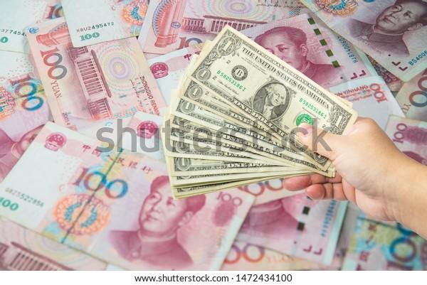 Us Dollar Bill Chinese Yuan Banknote Business Finance Stock Image 1472434100