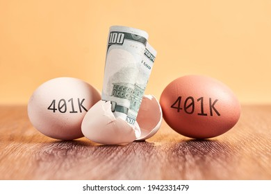 US dollar bill and eggs with 401K