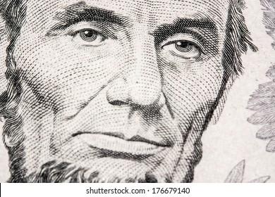 us dollar bill, linkoln face close up