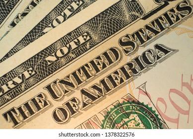 US Dollar bill. Super macro photo, close up.