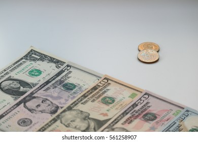 US dollar cash, banknote, coin stack background, finance concept
