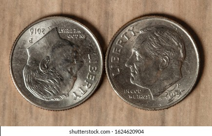 Us Dollar. Coin Bank, One Dime. Photograph of a group of American dimes.