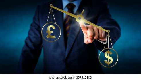 US dollar currency symbol is outbalancing the British pound sterling sign on a virtual golden pair of scales. Metaphor for trade imbalance and the modern foreign currency exchange market.