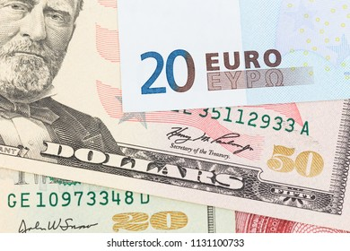 US Dollar and Euro banknote money