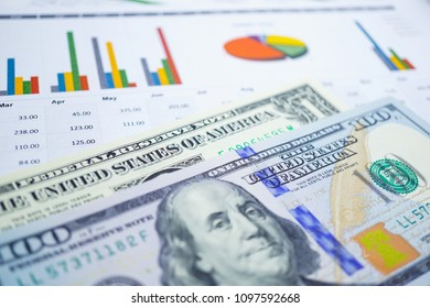US dollar and euro banknotes money on chart graph background paper. Financial development, Banking Account, Statistics, Investment Analytic research economy, trading, office reporting Business concept