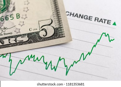 US dollar exchange rate: 5 US dollar bill placed on a green graph showing increase in currency exchange rate