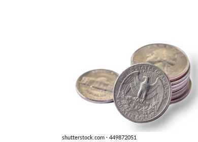 US. dollar money coins on white background.