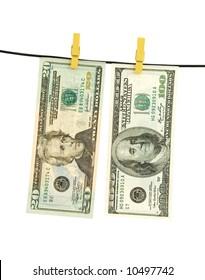 us dollar money hanging over string