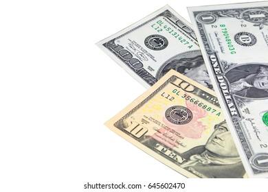 US dollar money on the white background