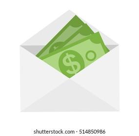 US Dollar Stack Paper Banknotes in Envelope  Icon Sign Business Finance Money Concept  Illustration