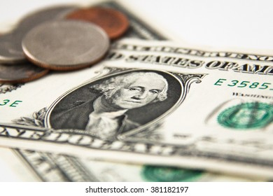 US dollars banknotes and coins