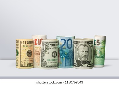 US Dollars and Euro Money on desk