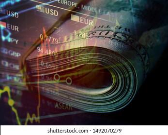 US dollars and finance data. Macro image.