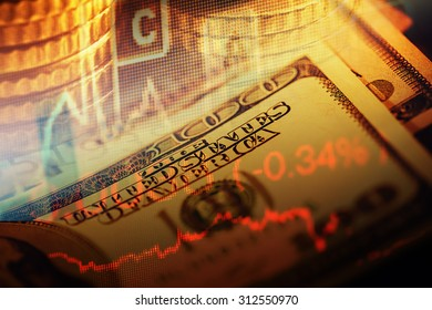 US dollars and finance graphs. Business concept.