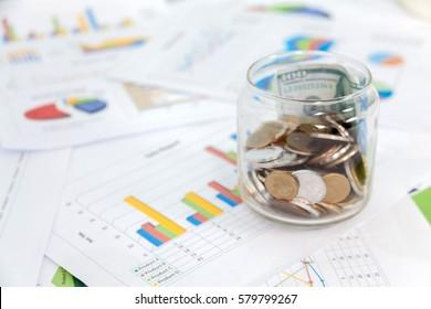 US Dollars and finance Statistic Background. Macro image.
