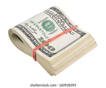 US dollars isolated on white background