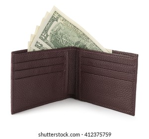 US Dollars in leather wallet isolated on white background.