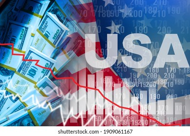 US economy problem. Falling graph next to USA. Graph displays US economy. Concept of crisis in US economy. Debt securities chart and quotes. United States of America Treasury Bond Value Line.
