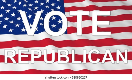 US Elections - American Flag with White Vote Republican Text 3D Illustration
