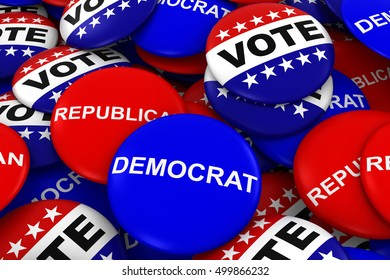 US Elections Concept - Democrat, Republican and Vote Campaign Pins in Pile 3D Illustration