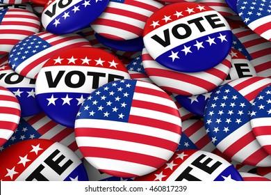 US Elections Concept - United States Flag and Vote Badges 3D Illustration
