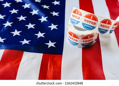 in US elections on American flag.