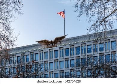 US embassy in London in winter