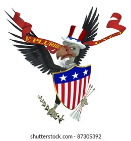 US Emblem - Vulture 2. A version of the US emblem with a vulture replacing the eagle.  Political Humor.  Isolated on white