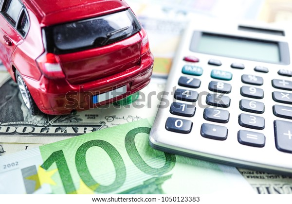 Us Eu Banknotes Calculator Red Car Stock Photo Edit Now 1050123383