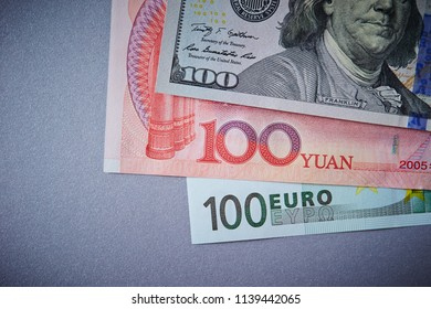 US, Euro and Chinese yuan paper currency