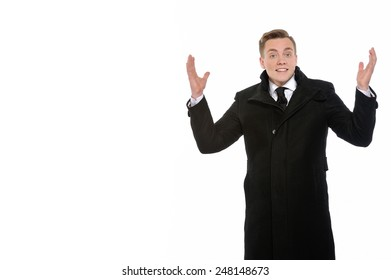 With us everything is simple. Smiling businessman with arms up. Copy space on the left is for your text.