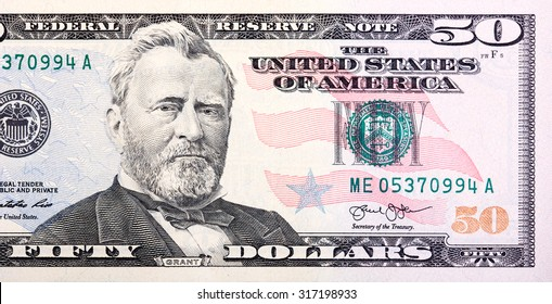 A U.S. fifty 50 Dollar Bill close up of Grant.