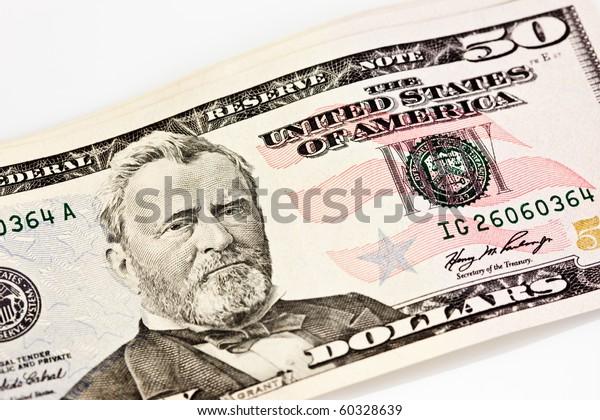 Us Fifty 50 Dollar Bill Close Stock Photo (Edit Now) 60328639