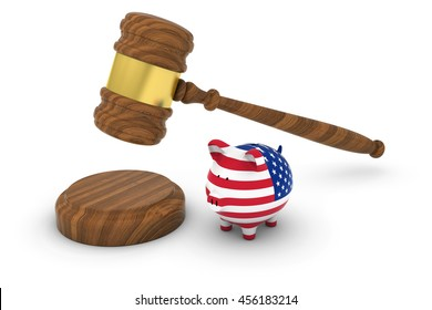 US Financial Law Concept - Judge's Gavel with American Flag Piggy Bank 3D Illustration
