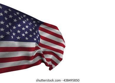 US flag against white background