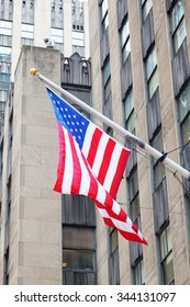 US flag at a building in Manhattan, NYC