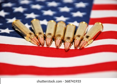 US flag and bullets representing the Right to Bear Arms, selective focus with room for text