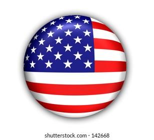 US Flag Button - White