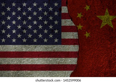 US flag and China flag on the crack concrete wall . TradeWar and economic Conflicts within China and United State