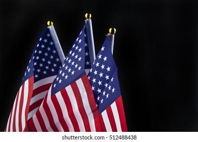 US flag on a black background