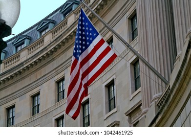 US flag on the building
