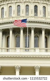 US flag on the dome of United States Capitol Building