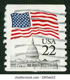 US flag over Capitol on US vintage postmark