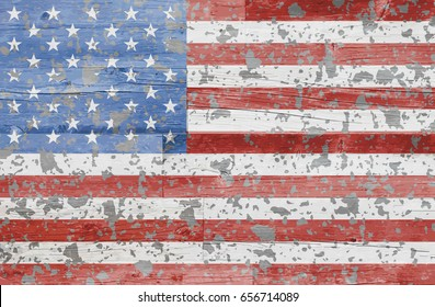 US flag painted on brick wall showing age