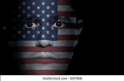 US flag painted/projected onto a man's face.